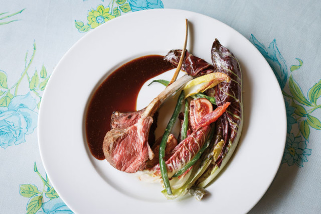 Rack of lamb with cassis demi-glace, treviso, haricots verts, and figs