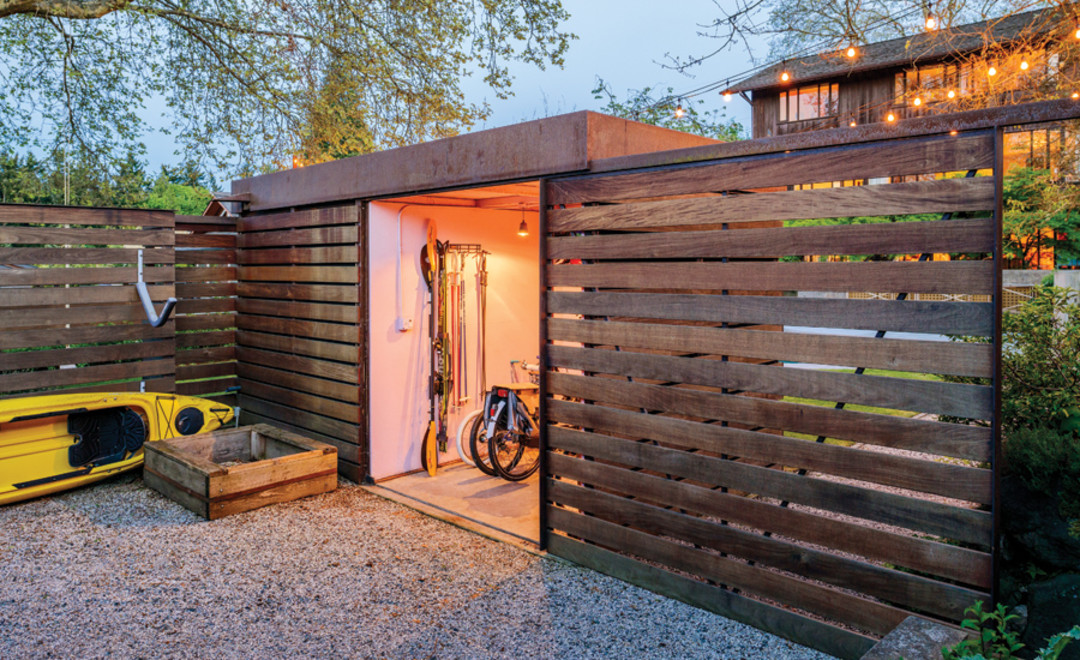 Stylish urban garden sheds seattle met for Side of the house storage shed