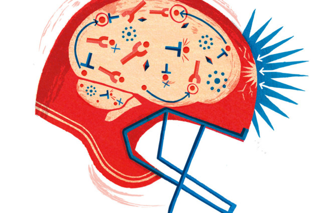 Football helmet concussion illustration j1rvht