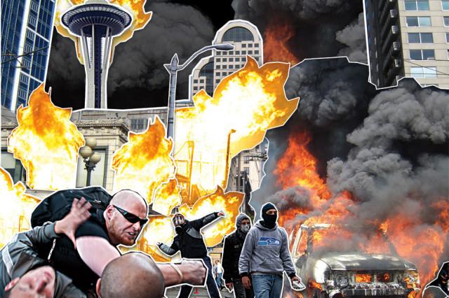 Seattle riot collage fbklxq