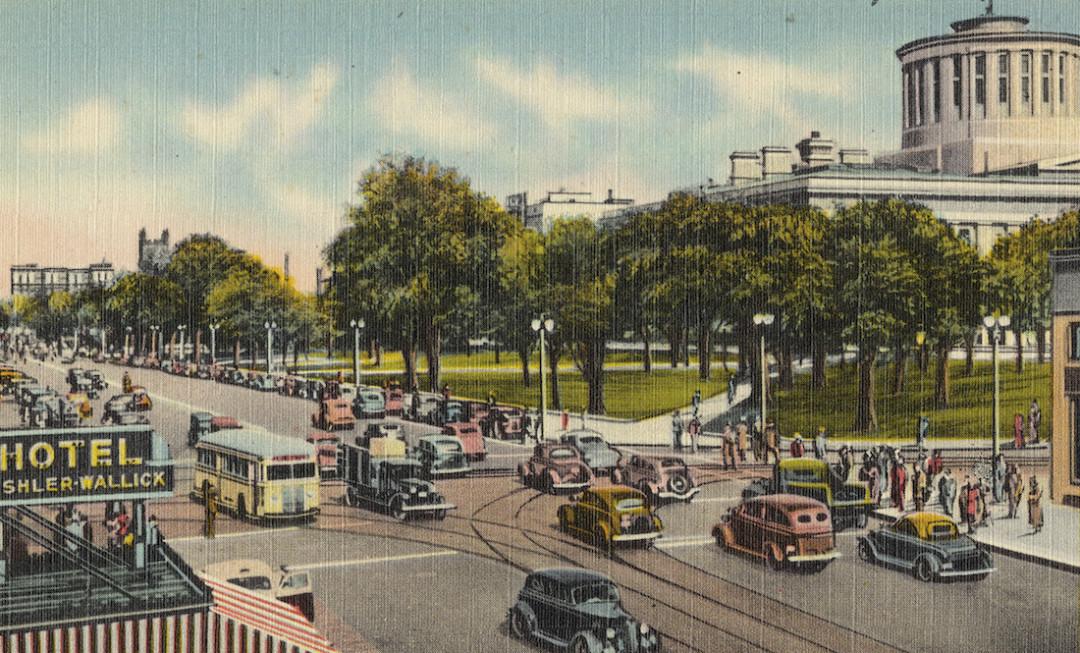 Columbus ohio vintage postcard broad and high street njm22p