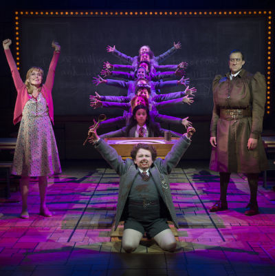 Matilda the musical national tour  bruce  jennifer blood miss honey evan gray bruce bryce ryness miss trunchbull gabby gutierrez matilda credit joan marcus eowmaj