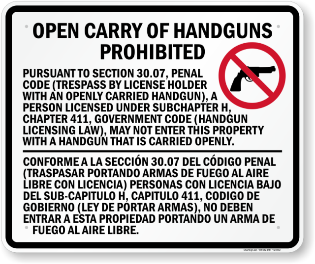 Open handguns prohibited texas sign k2 0012 u6xk0g