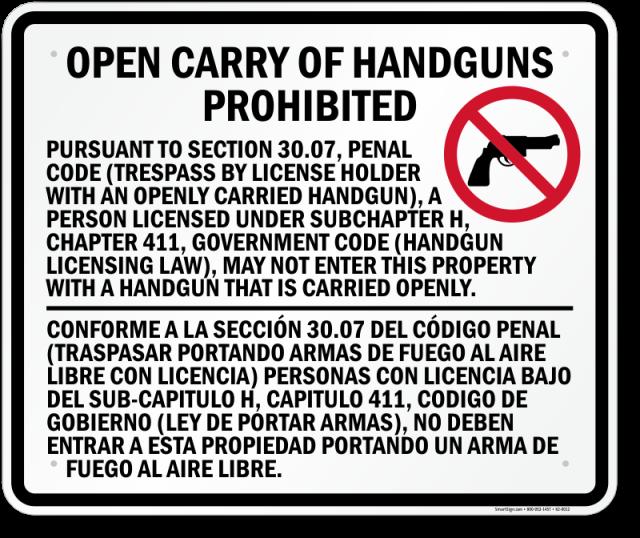 Open handguns prohibited texas sign k2 0012 u6xk0g
