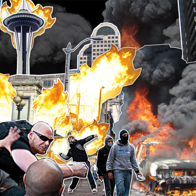 Seattle riot collage fbklxq