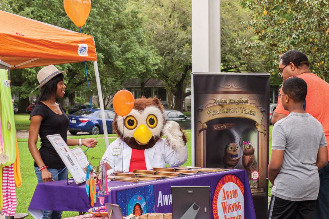 0116 feature literary houston coming through indie book fair bird mascot fezfyv