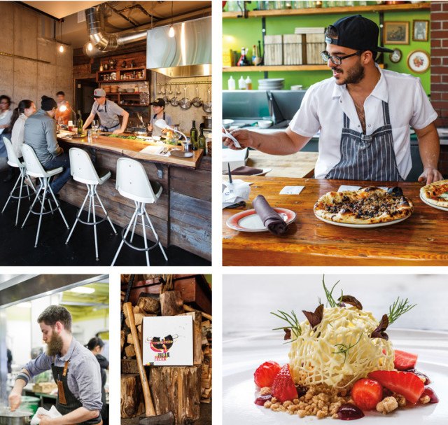 Clockwise from top left: Earl Ninsom and Rassamee Ruaysuntia play host at Langbaan; P.R.E.A.M.'s Nicholas Ford; Holdfast reimagines white chocolate panna cotta; Ned Ludd's pizza box transformation; chef Will Preisch at Holdfast