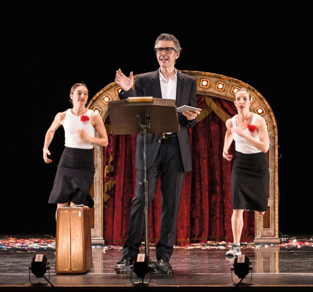 Ira Glass backed by Monica Bill Barnes (left) and Anna Bass