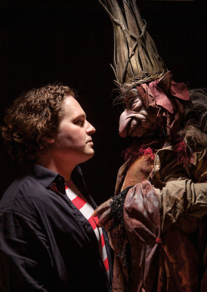Toby Froud with King Time, a handmade puppet from <i>Lessons Learned</i>