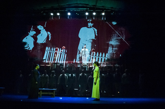 Bag&Baggage's production uses multimedia projections to bring Arthur Miller's 'The Crucible' to, um, life.