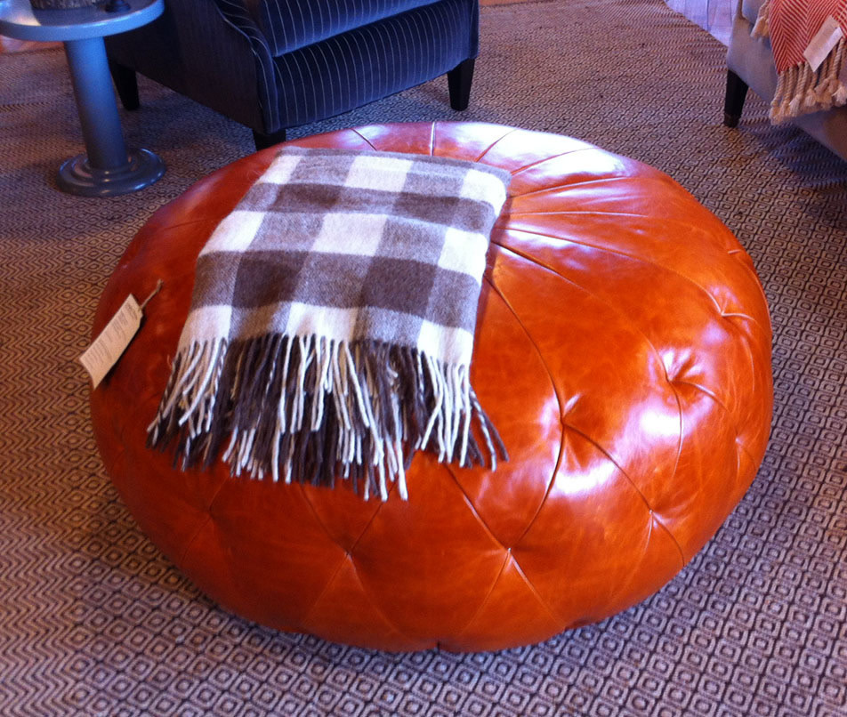 Schoolhouse Electrics Multi Tasking Footstool Chair Home Decor Accent Is Available In Several Colors Of Fabric Or Rich Leather Including The Pumpkin