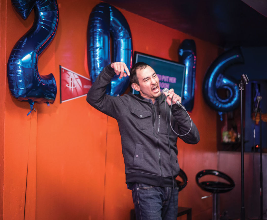0216 best bars downtown glitter karaoke man singing mgypgr