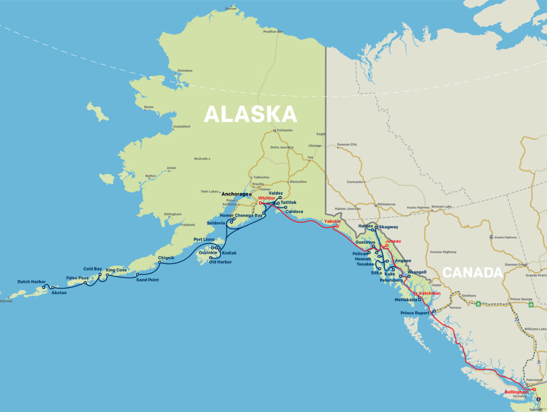 Alaska Eventually The Great Northern Boat Trip – Alaska Travel Map