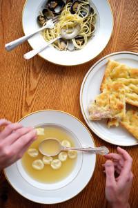 pasta onion focaccia cappelletti