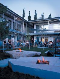 modern hotel patio