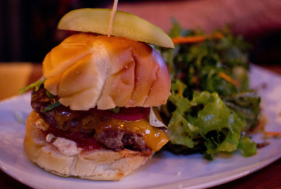burger at alberta street pub in portland oregon