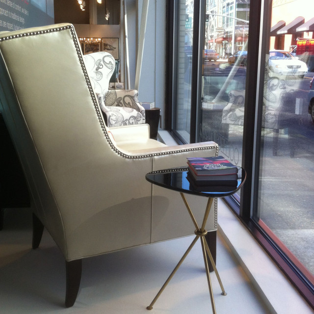 Chairs In The Window Of The Mitchell Gold + Bob Williams Store Have A  Commanding View Of West Burnside.