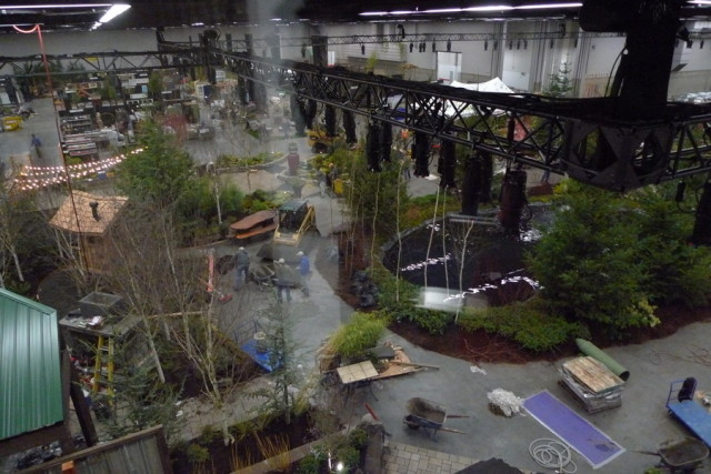 This Is The Show Floor As Of Thursday Evening, Viewed From The VIP Lounge.  Below, Workers Were Busily Building Pergolas, Laying Down Stone Walkways,  ...