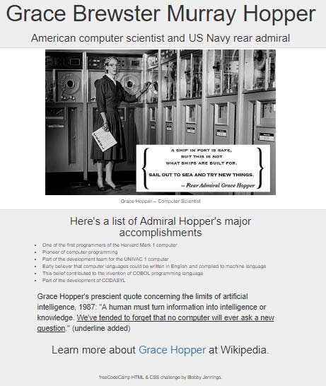 Admiral Grace Hopper Tribute Page