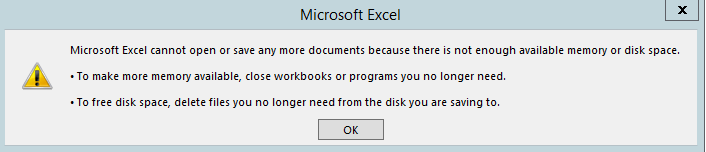Excel Out of Disk or Memory when using Remote Desktop