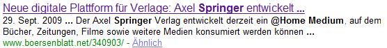 Neue digitale Plattform für Verlage: Axel Springer entwickelt ... 29. Sept. 2009 ... Der Axel Springer Verlag entwickelt derzeit ein @Home Medium, auf dem Bücher, Zeitungen, Filme sowie weitere Medien konsumiert werden können ... www.boersenblatt.net/340903/