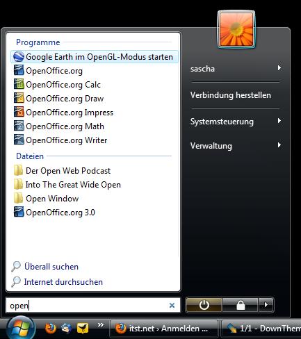Das Startmenü von Windows Vista macht die früheren Programmordner überflüssig.