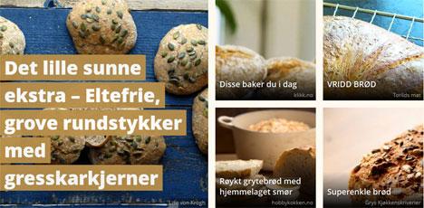 Vi samler oppskrifter fra en rekke matnettsteder og blogger. Klikk på bildet for flere brødoppskrifter.