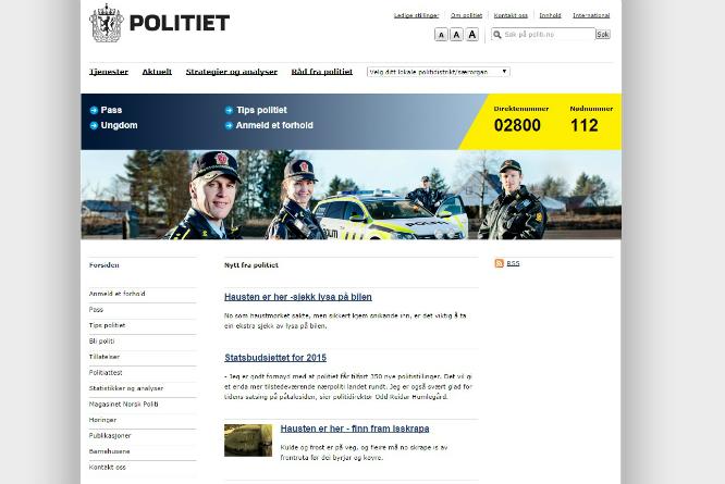 Politiets digitale overhaling skapte furore. (Skjermbilde: Politiet.no)