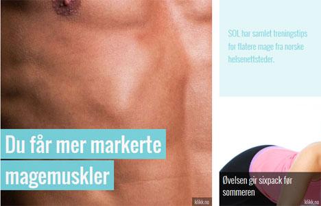 Artikler om mageøvelser, samlet fra norske helse- og treningsnettsteder.