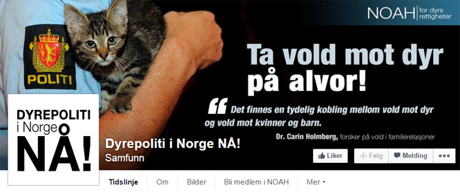"""Facebook-gruppa """"Dyrepoliti i Norge NÅ!"""" har over 70.000 fans på Facebook. (Skjermdump: Facebook)"""