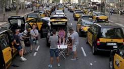 Spanish taxi strike against Uber
