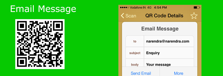 Adding QR Code for contact via email shortcode with arguments size, to, sub and body