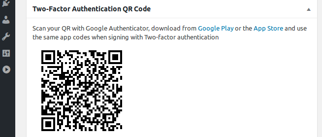 Adding Google Two-Factor Authentication QR Code widget at dashboard