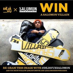 If you are following us and want to try your luck at winning a new #SalomonVillain, follow @dejavumovie, repost this photo and tag #DejaVuXsalomon ! A winner will be chosen by Louif Paradis 11/28. @whatelze #allterrainfreestyle #jibz #getsome
