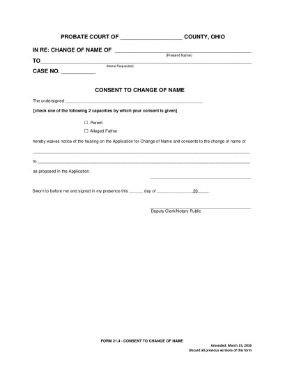 Name Change Minor | Seneca County Juvenile Probate Court