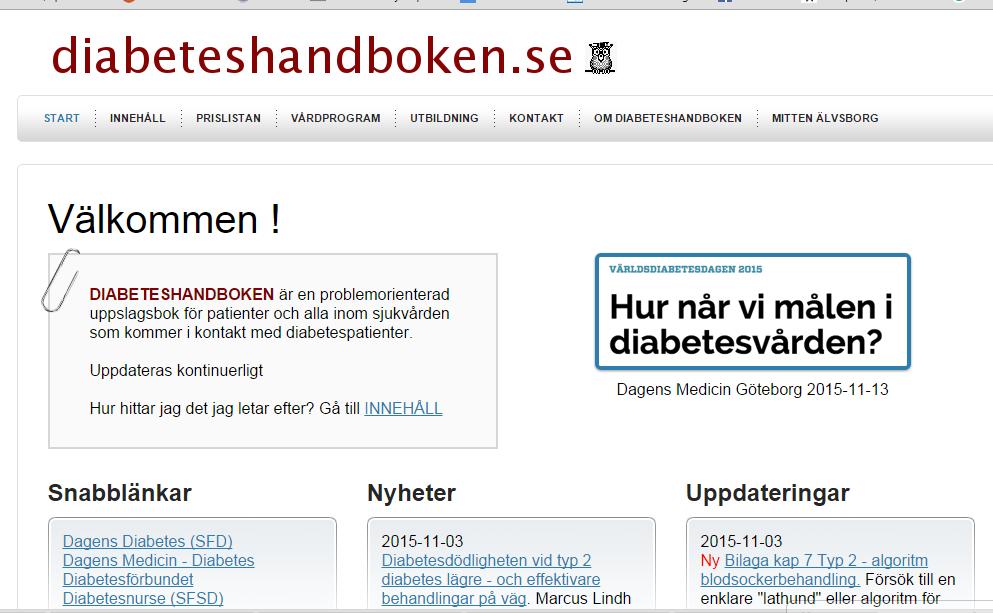 Diabeteshandboken.se - gratis webbaserad uppslagsverk om Diabetes
