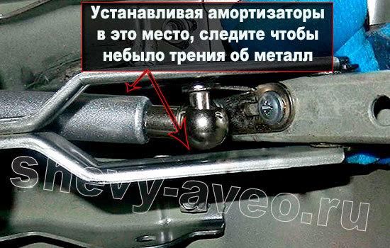Установка амортизаторов на крышку багажника Авео - Место крепления верхней части амортизатора