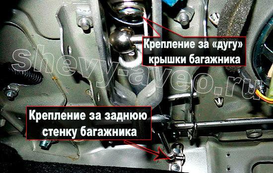 Установка амортизаторов на крышку багажника Авео - Крепление амортизатора к крышке багажника