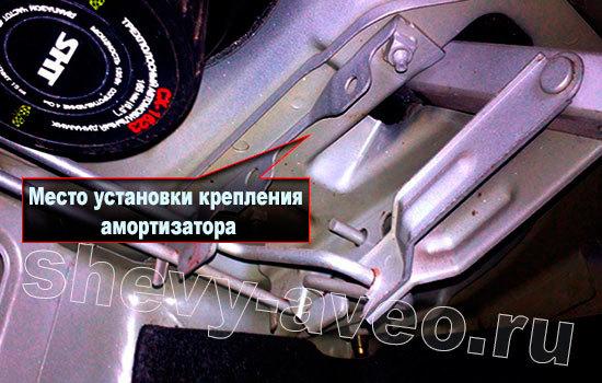 Установка амортизаторов на крышку багажника Авео - Место установки крепления амортизатора