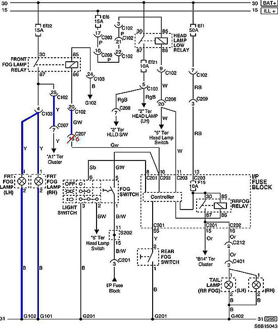 Схема подключения ПФТ на модели Шевроле Авео до 2008 года