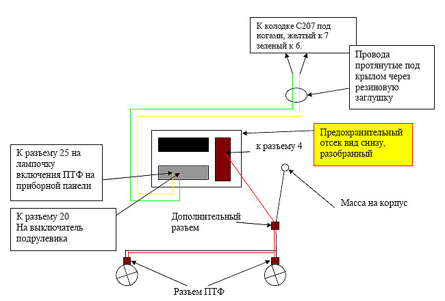Схема подключение туманок на шевроле авео