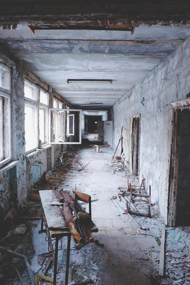 An abandoned schoolbuilding in Pripyat