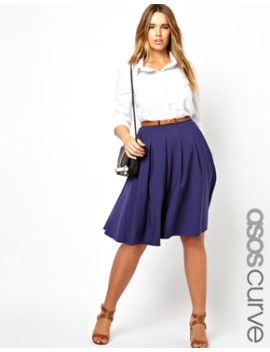asos-curve-exclusive-midi-skirt-with-belt by asos-curve