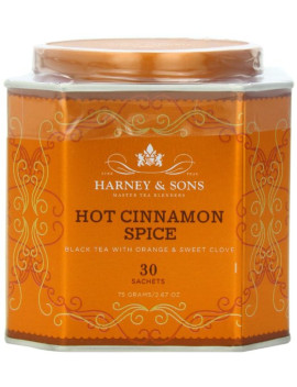 harney-&-sons-hot-cinnamon-spice-tea-tin---black-tea-with-orange-&-sweet-clove---267-ounces,-30-sachets by harney-&-sons