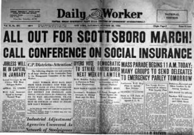 Daily Worker Communist Newspaper calling for Scottsboro March