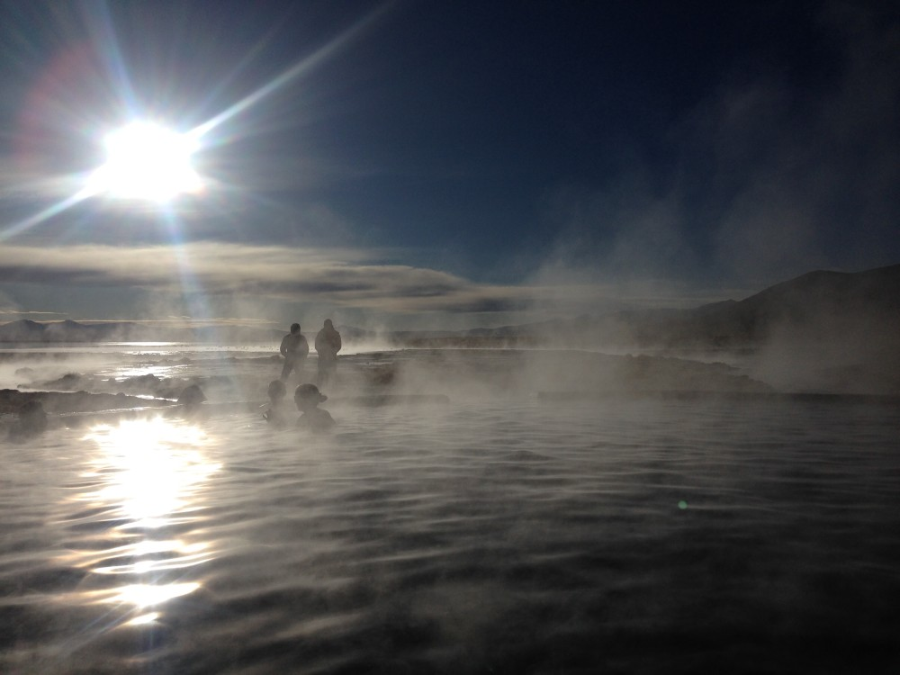 Warming up at the hot springs