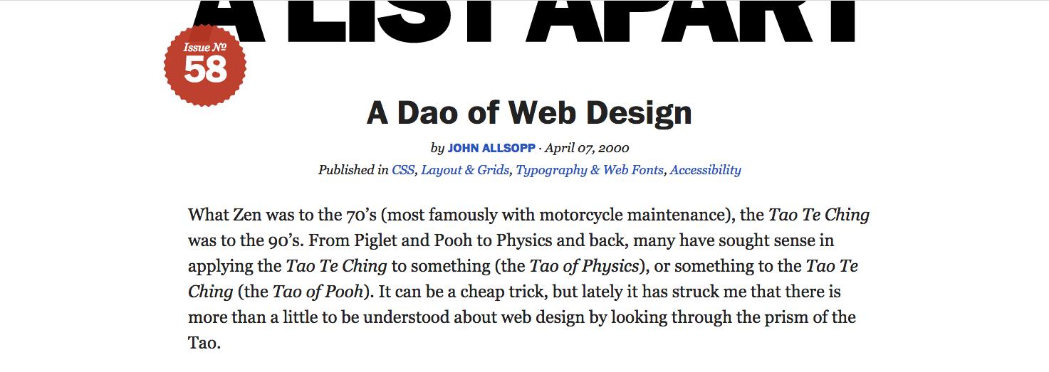 Dao of Web Design