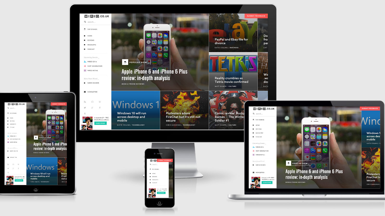 Wired home page across a variety of devices | Responsive Web Design