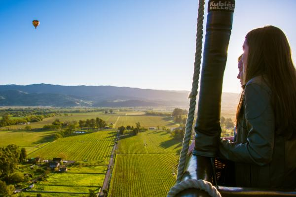 People in Hot Air Balloon over Napa Valley