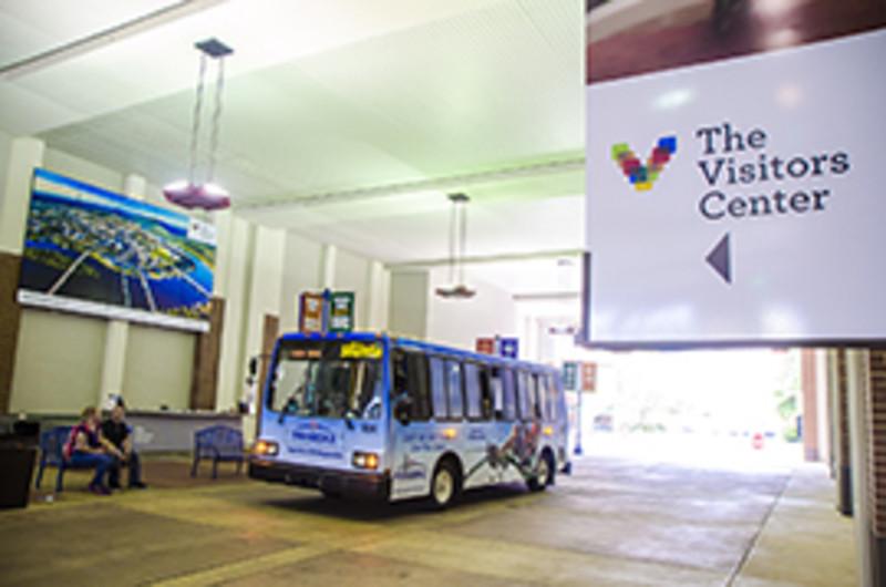 Shuttle bus in Shuttle Park North Breezeway